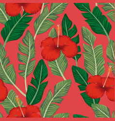 green banana leaves hibiscus seamless coral vector image