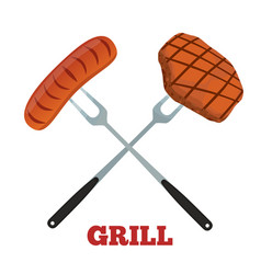 Grill label pork ham and sausage barbecue fork vector