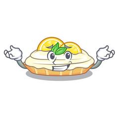 Grinning cartoon lemon cake with lemon slice vector