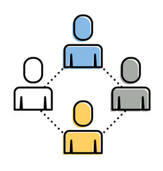 group people teamwork connection cooperation vector image