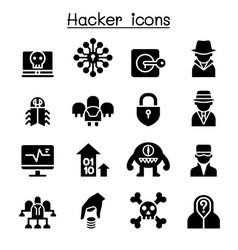 hacker icon set vector image