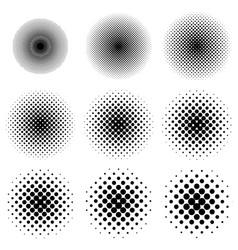 halftone circles set dot pattern circles vector image