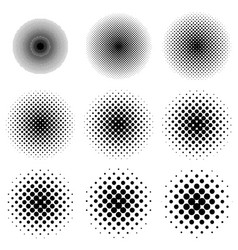 Halftone circles set dot pattern halftone circles vector