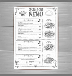 hand drawing restaurant menu design vector image