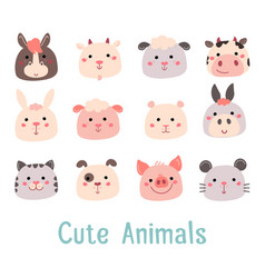 Hand drawn characters goat pig cow sheep cat dog vector