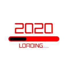 happy new year 2020 loading icon flat red neon vector image