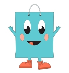 Happy shopping bag vector image