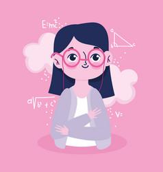happy teachers day portrait teacher cartoon vector image