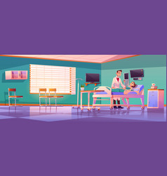 Hospital ward with doctor and patient on bed vector