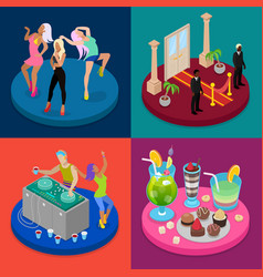 isometric party concept night club disco dj vector image