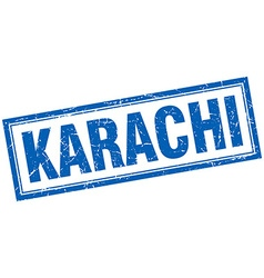 Karachi blue square grunge stamp on white vector