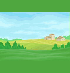 Landscape with stone barns in distance vector