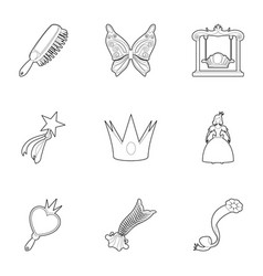 little fairy equipment icons set outline style vector image