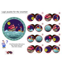 Logic puzzle game for smartest help sailor vector