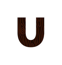 logo letter u wood texture vector image