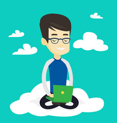 man using cloud computing technology vector image