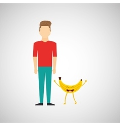 Man with cartoon fruit banana vector