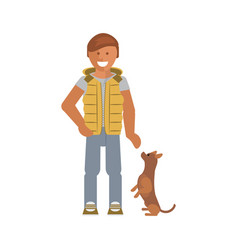 man with his dog vector image