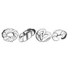 menu twisted bakery shop set vector image