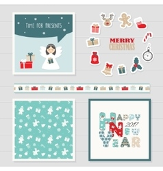Merry Christmas and Happy New Year 2017 set vector image