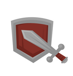 metal sword against wooden shield isolated on vector image