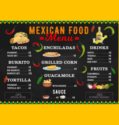 Mexican food menu mexico cuisine burritos tacos vector