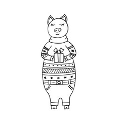 monochrome hand-drawn pig in a christmas sweater vector image