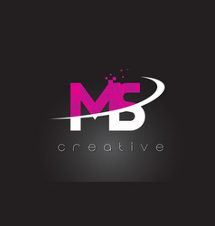 Ms m s creative letters design with white pink vector