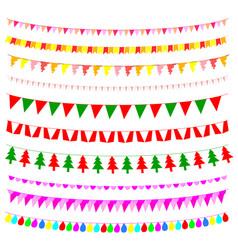multicolored bunting design elements vector image