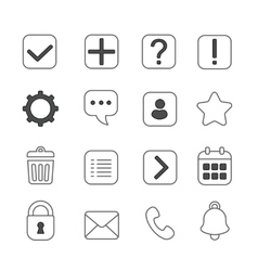 Notification and information linear icons set vector image