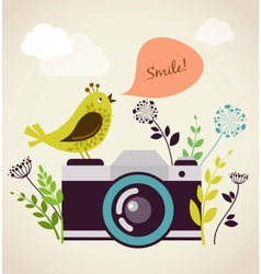 old vintage camera with bird vector image