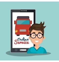 online service man truck transport vector image