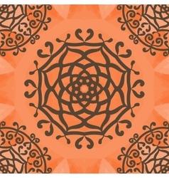 Ornamental seamless pattern on orange texture vector