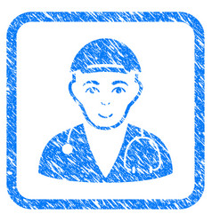Physician doctor framed stamp vector