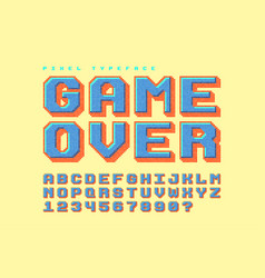Pixel font design stylized like in 8-bit vector