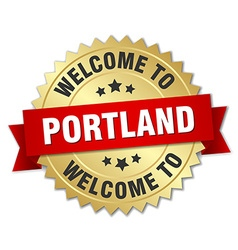 Portland 3d gold badge with red ribbon vector