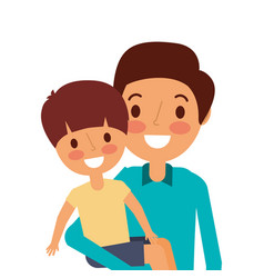 portrait dad carrying her son vector image