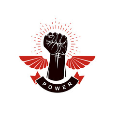 Raised strong clenched fist winged logo best vector