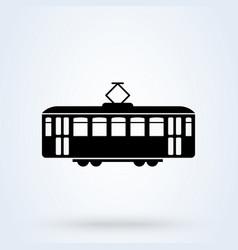 Retro tram side view icon tramway transportation vector