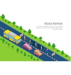 Road repair roadworks construction concept vector