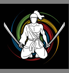 Samurai warrior sitting with swords cartoon vector