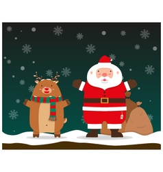 Santa Claus and reindeer raise hands standing vector image