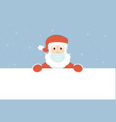 santa claus in medical face mask with banner vector image