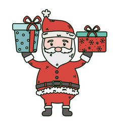santa with gifts in hands celebration merry vector image