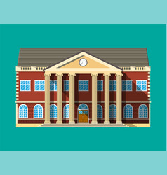 School building brick facade with clocks vector