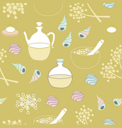Sea shells sea salt body oil and flowers-spa in vector