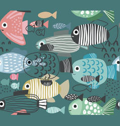 seamless pattern with funny fishes in vector image