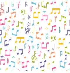 Seamless pattern with music notes hand drawn vector