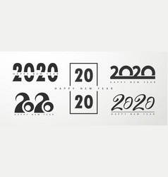 set 2020 text design pattern collection of vector image