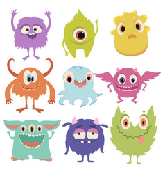 set cartoon monsters collection happy vector image
